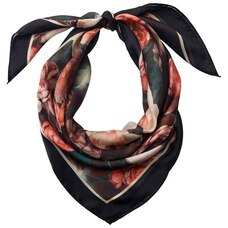 LOVE AND LORE SILKY FOULARD SCARF ROSE GARDEN BLACK