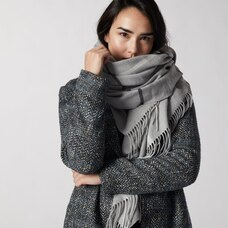 LOVE AND LORE SUPER SOFT SQUARE BLANKET SCARF GREY PLAID