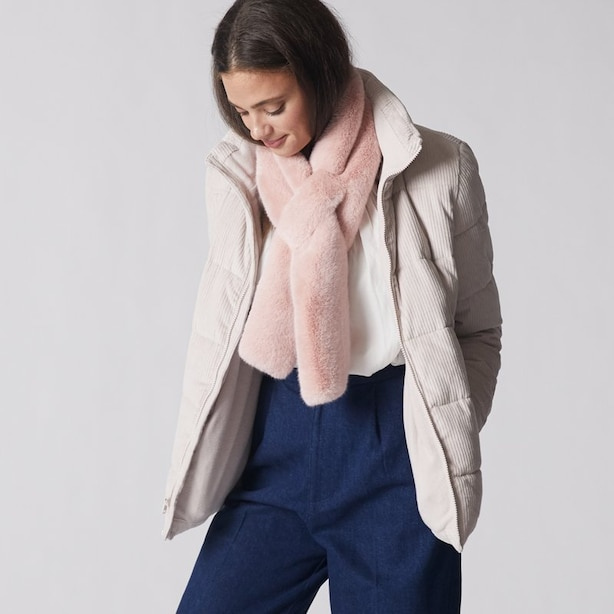 LOVE AND LORE FUR PULL THROUGH SCARF BLUSH PINK