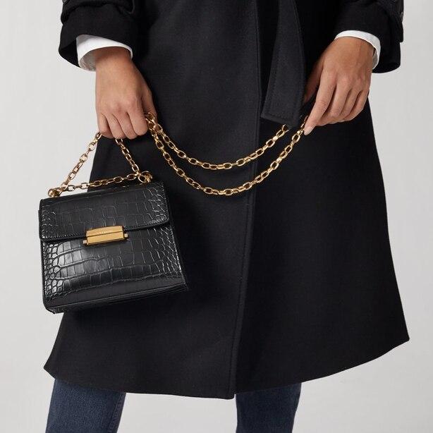 Love And Lore Croc Fontaine Mini Crossbody Bag Black by Love & Lore