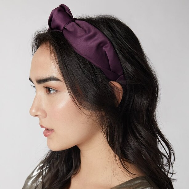 LOVE AND LORE SATIN KNOTTED HEADBAND PLUM