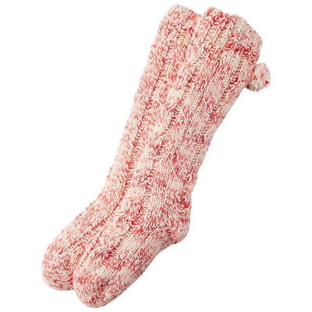 CANDY CANE CABLE READING SOCKS™ RED AND PINK