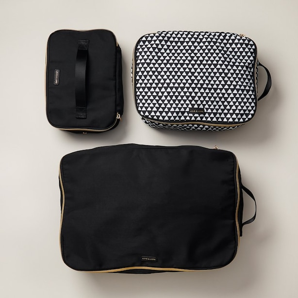 LOVE AND LORE PACKING CUBES BLACK SET OF 3