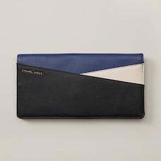 Colorblock Travel Wallet, Black/Cobalt