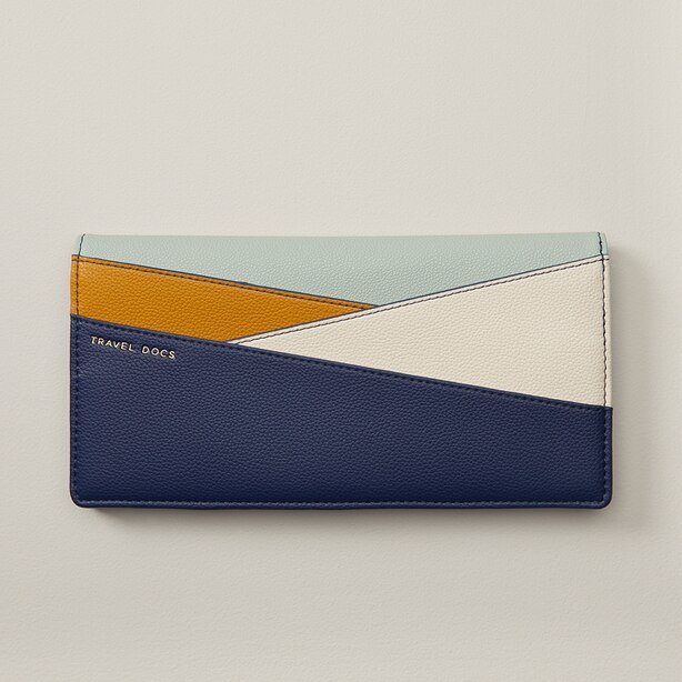 Love And Lore Colorblock Travel Wallet Navy Blue