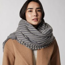 LOVE AND LORE TICKING STRIPE SCARF GREY