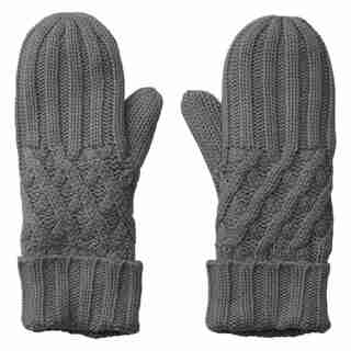LOVE AND LORE REMY RIB MITTEN GREY HEATHER