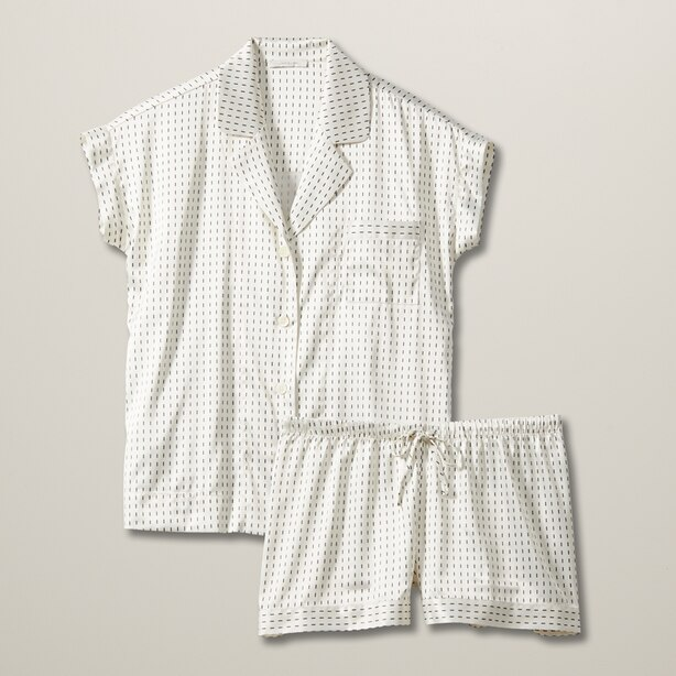 LOVE AND LORE SILKY PJ SHORT SET IVORY DASHES SMALL