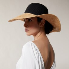LOVE AND LORE STRAW SUN HAT COLOURBLOCK BLACK AND NATURAL