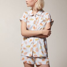 LOVE AND LORE POPLIN PJ SHORT SET PAPAYA MEDIUM