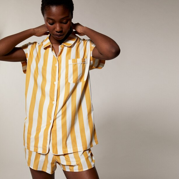 LOVE AND LORE POPLIN PJ SHORT SET AWNING STRIPE MUSTARD MEDIUM