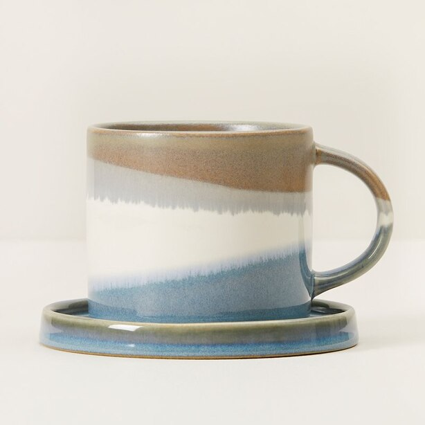 BLUE GREY DIPPED CERAMIC TEA SET