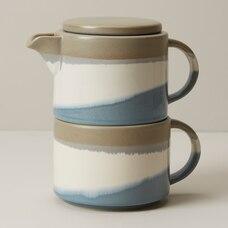 BLUE GREY DIPPED CERAMIC TEA-FOR-ONE