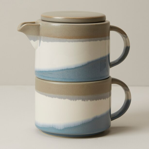 BLUE GREY DIPPED CERAMIC TEA-FOR-ONE
