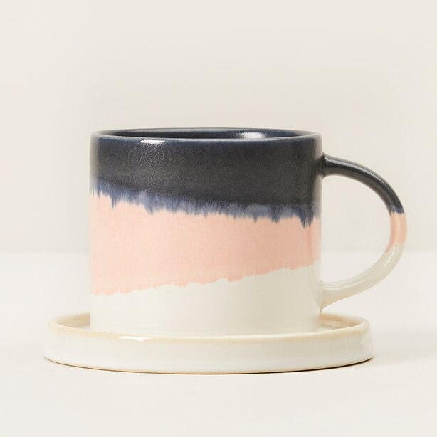 DUSTY ROSE DIPPED CERAMIC TEA SET