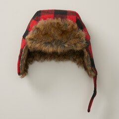 IndigoBaby Baby Trapper Hat Buffalo Plaid Black and Red 0 to 6 Months