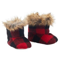 IndigoBaby Baby Booties Buffalo Plaid Black and Red 0 to 12 Months