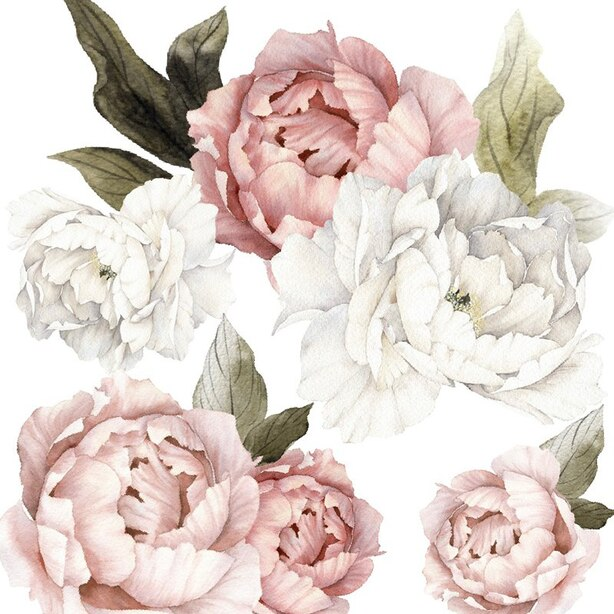 HALF BLUSHING PEONIES WALL DECAL