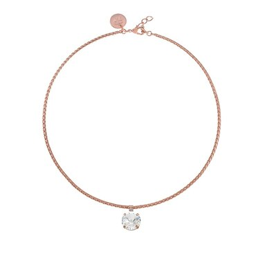 REBEKAH PRICE POPPY PENDENT NECKLACE CRYSTAL ON ROSE