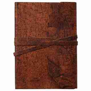 LEATHER WRAP JOURNAL TEXTURED BROWN