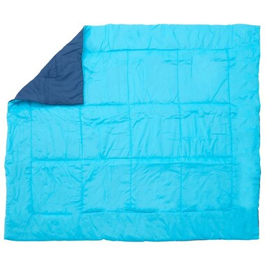 TWO-TONE QUILTED THROW – AQUA BLUE/NAVY