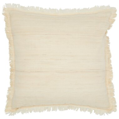 """TWO-TONE FRINGED PILLOW COVER – NATURAL, 18"""" x 18"""""""