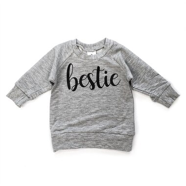 Posh & Cozy Crew Neck Sweater Bestie Grey Newborn-6 Months