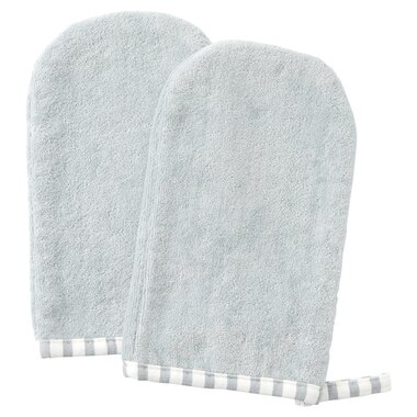 IndigoBaby Bath Mitt Grey Stripe 2-Pack