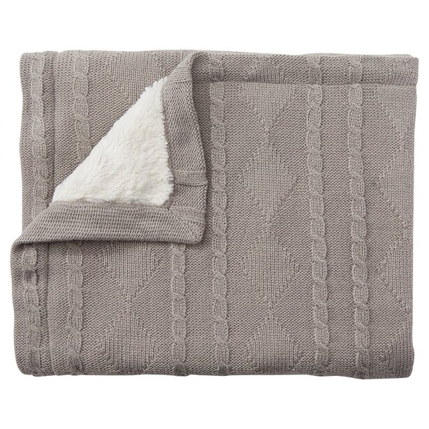 Knit Fur Blanket Grey