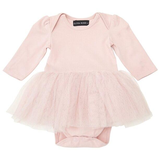 Olivia Rose ® Dusty Rose Long Sleeve Tutu Onesie 6-12 months
