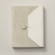 BRITTANY LEATHER SUEDE SMALL JOURNAL GREY