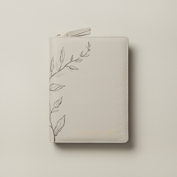 REFILLABLE ZIP JOURNAL LOST IN SIENA SKETCHED VINES OYSTER