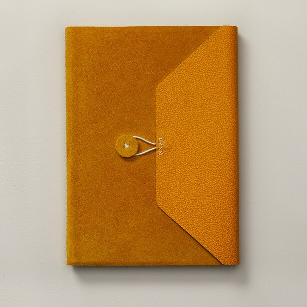 BRITTANY LARGE LEATHER SUEDE JOURNAL MUSTARD