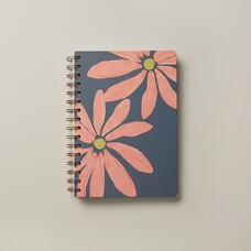 A5 SPIRAL NOTEBOOK WISPY WILDFLOWERS SKETCHED DAISIES PINK