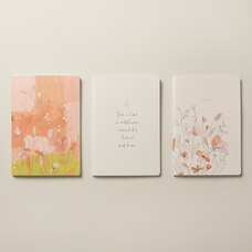 SET OF 3 NOTEBOOKS SMALL WISPY WILDFLOWERS SUMMER GARDEN PINK