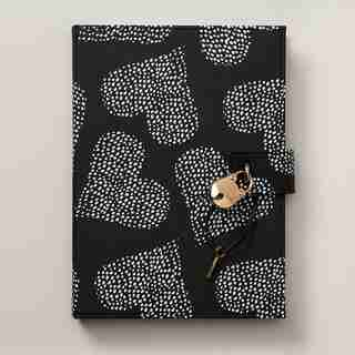 LOCKED DIARY LARGE DOTTED HEARTS BLACK