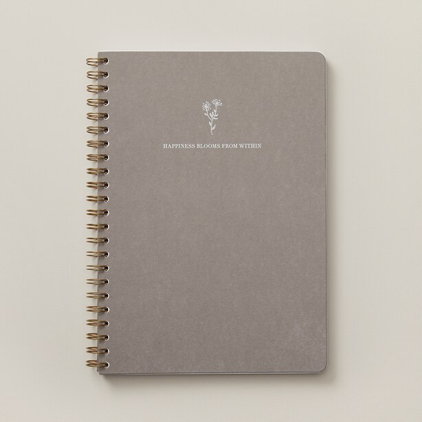 A4 SPIRAL NOTEBOOK GOOD EARTH HAPPINESS BLOOMS KRAFT GREY