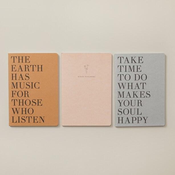 SET OF 3 NOTEBOOKS SMALL GOOD EARTH  EARTH HAS MUSIC KRAFT
