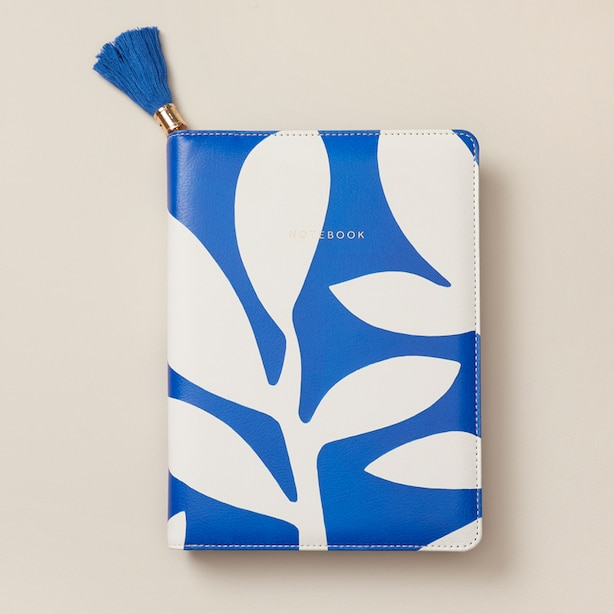 REFILLABLE ZIP JOURNAL ABSTRACT BOHO BRIGHT PALM BLUE