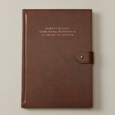 EXTRA-LARGE BUTTON JOURNAL ALWAYS BELIEVE BROWN