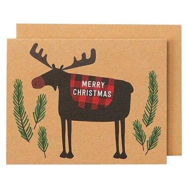 Holiday Boxed Cards Moose on Kraft