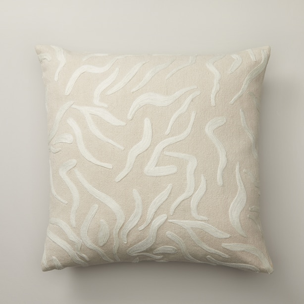 "SQUIGGLE ALMOND PILLOW COVER 18"" X 18"""