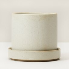MEDIUM PLANTER WITH SAUCER IVORY