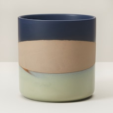 LARGE ROUNDED GLAZED PLANTER BLUE