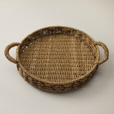ROUND SEAGRASS TRAY WITH HANDLES