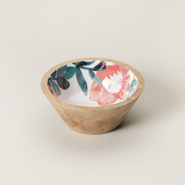 SMALL TROPICAL WOOD & ENAMEL BOWL