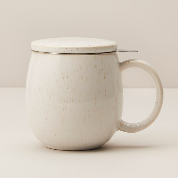 WILLOW LUSTER CERAMIC TEA MUG WITH INFUSER