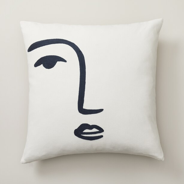 "OUI LINE DRAWN PILLOW COVER FACE 18"" X 18"""