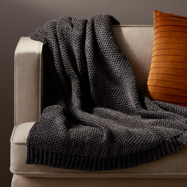 OUI HONEYCOMB CHENILLE THROW LEAD GREY