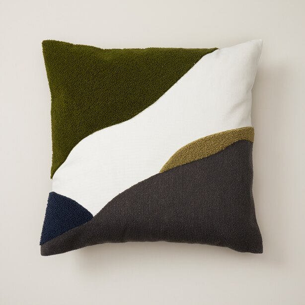 "OUI ABSTRACT PILLOW COVER WILD OLIVE 18"" X 18"""